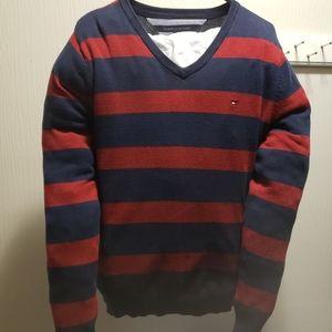 Tommy Hilfiger Striped V-Neck Sweater (Medium)